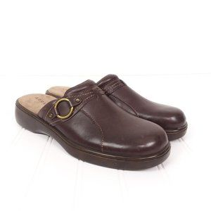 Array Lyric Brown Leather Slip On Mules Clogs